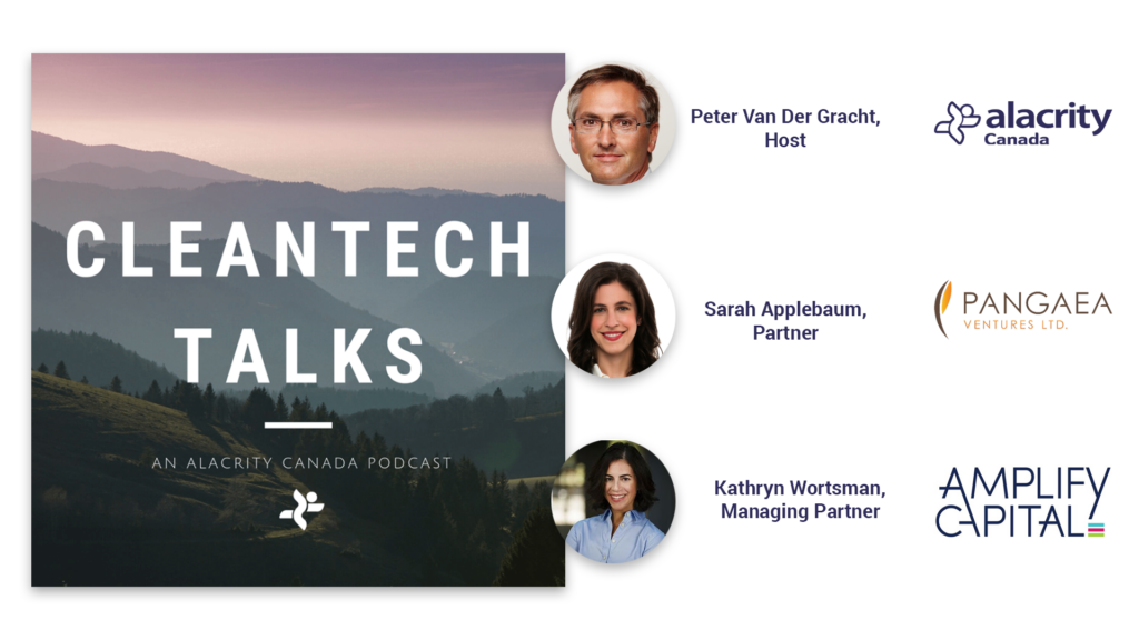 "A natural landscape in a square image reads ""Cleantech Talks, an Alacrity Canada podcast"" and features three photos of impact investors in cleantech."