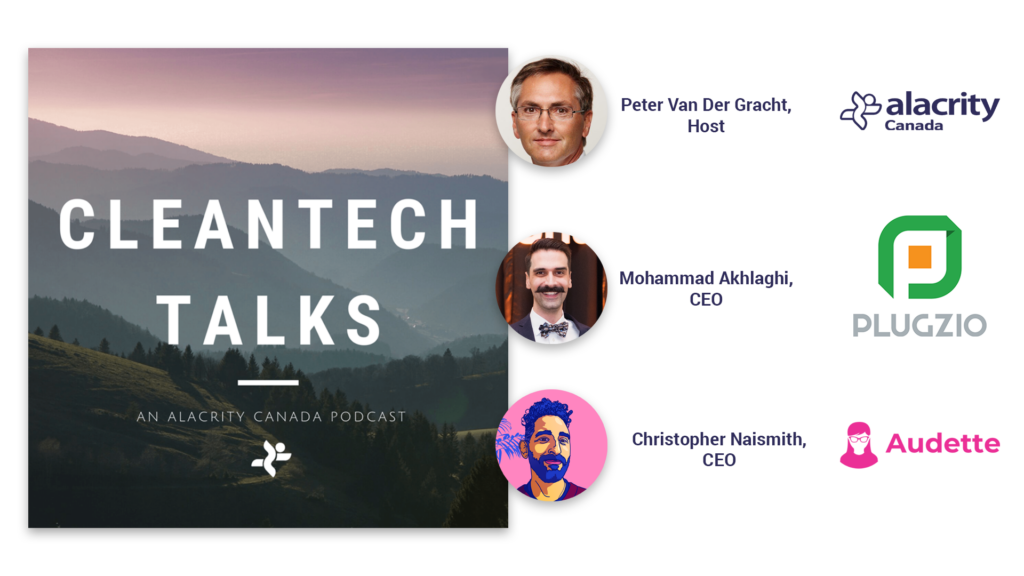 "A natural landscape in a square image reads ""Cleantech Talks, an Alacrity Canada podcast"" and features three photos of the host and guests in this episode."
