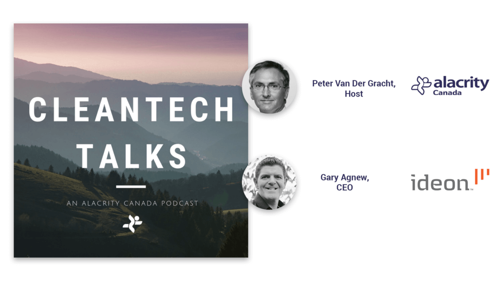 """A natural landscape in a square image reads """"Cleantech Talks, an Alacrity Canada podcast"""" and features two photos of the host and guest in this episode."""
